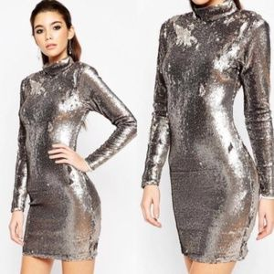 NWT ASOS Silver Sequin Mock Neck Long Sleeve Dress